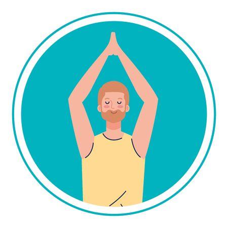 man with eyes closed, meditation, healthy lifestyle Foto de archivo - 150126911