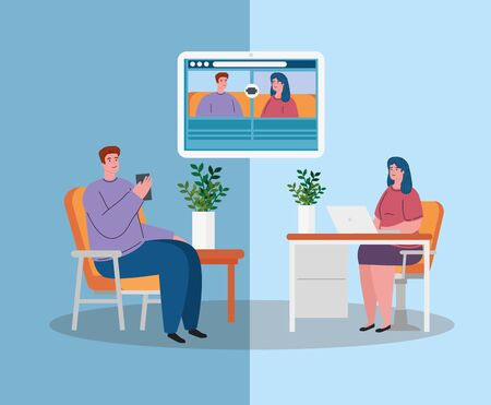 couple talk to each other, conference video call, stay at home, prevention coronavirus, covid 19 vector illustration design 일러스트
