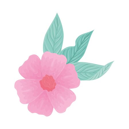 flower pink color pastel with leaves , nature concept vector illustration design Vectores