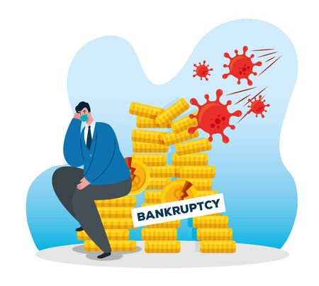 businessman with mask and coins tower design of bankruptcy and covid 19 virus theme Vector illustration Illustration