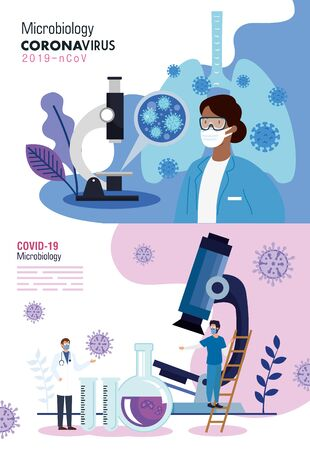 set poster of microbiology for covid 19 and medical icons vector illustration design Banco de Imagens - 150126995