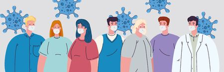 group people with doctor wearing medical mask to prevent coronavirus covid 19 vector illustration design