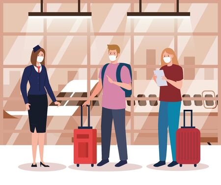 stewardess and couple wearing medical protection mask in airport terminal, traveling by airplane during coronavirus pandemic, prevention covid 19 vector illustration design