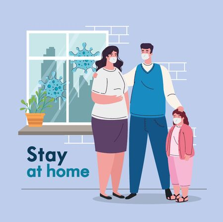 stay at home, quarantine or self isolation, parents with daughter wearing medical mask, prevention and health concept vector illustration design