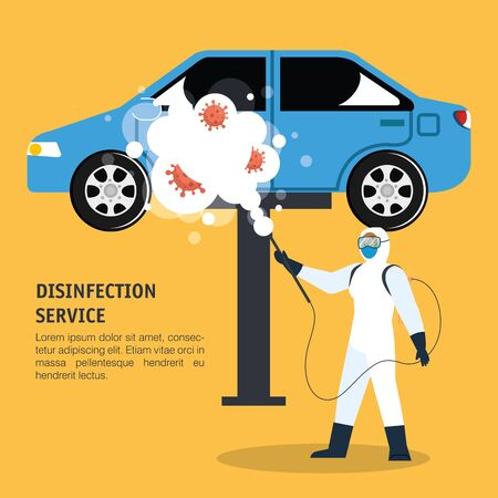 Man with protective suit spraying blue car with covid 19 virus design, Disinfects clean and antibacterial theme Vector illustration