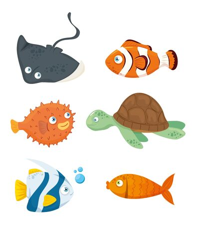 set animals, sea world dwellers, cute underwater creatures, habitat marine vector illustration design