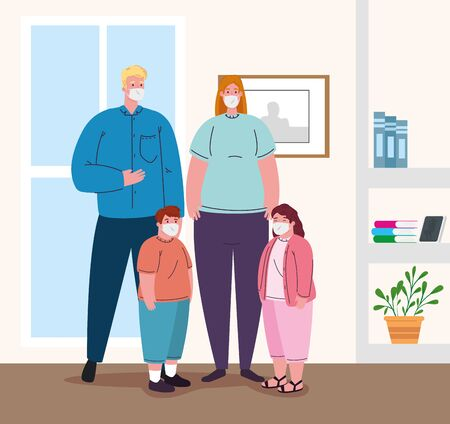 parents with children wearing medical mask for prevent coronavirus covid 19, in the house vector illustration design