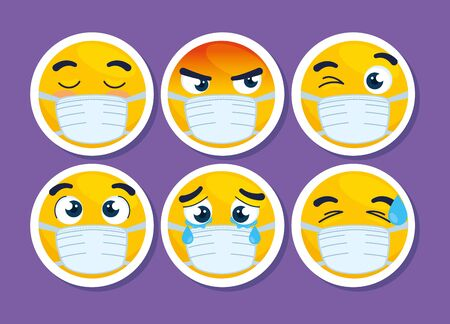 set of emoji wearing medical masks, yellow faces with a white surgical mask, icons for covid 19 coronavirus outbreak vector illustration design