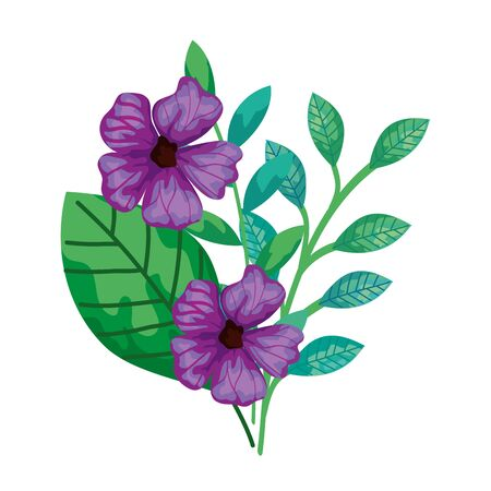 cute flowers purple with branches and leaves isolated icon vector illustration design Vectores