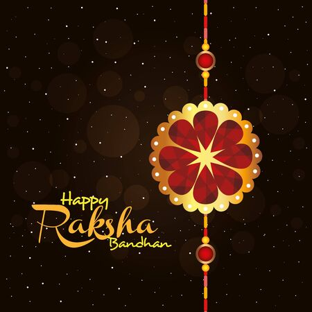 greeting card with decorative rakhi for raksha bandhan, indian festival for brother and sister bonding celebration, the binding relationship vector illustration design Archivio Fotografico - 150127061