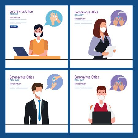 Businesspeople at office and hands sanitizer design, Disinfects clean antibacterial and hygiene theme Vector illustration Vectores
