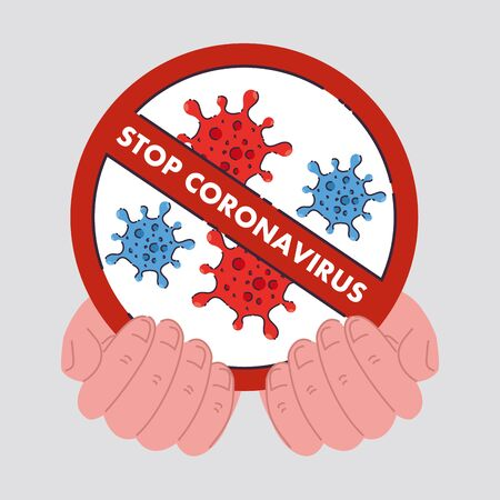 hands with icon of coronavirus cells in prohibited sign, concept stop coronavirus 2019 ncov vector illustration design