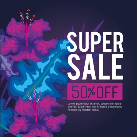 summer super sale fifty percent discount, banner with flowers and tropical leaves , exotic floral banner vector illustration design Vectores