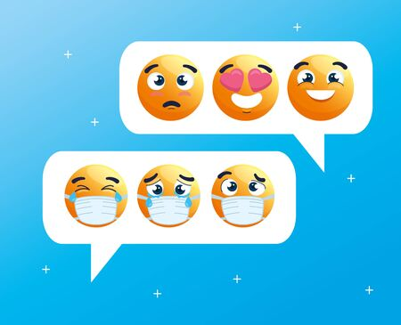 speech bubbles with set of emoji crying wearing medical masks, chat social media, icons for covid 19 coronavirus outbreak vector illustration design