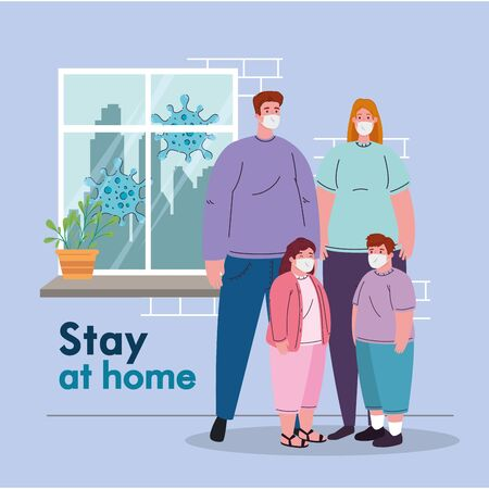 parents son and daughter with masks and stay at home text design of medical care and covid 19 virus theme Vector illustration Vettoriali