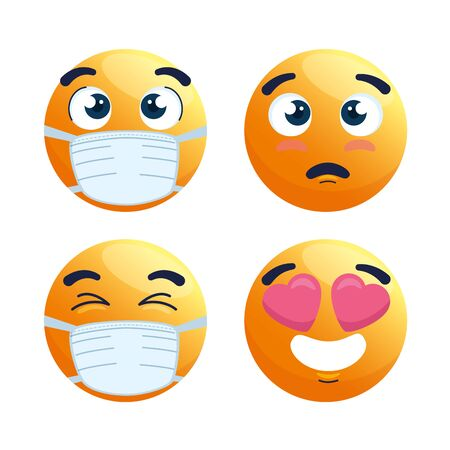 set of emoji wearing medical mask, yellow faces with a white surgical mask, icons for covid 19 coronavirus outbreak vector illustration design Illusztráció