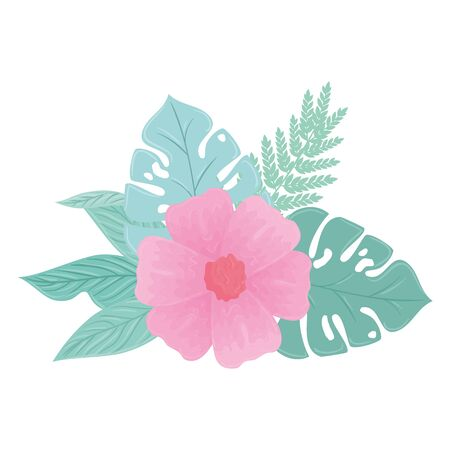 flower pink color pastel with branch and leaves , nature concept vector illustration design