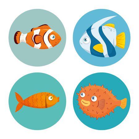 set fishes, sea world dwellers, cute underwater creatures, habitat marine vector illustration design
