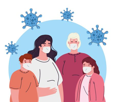 women and kids with masks design of medical care and covid 19 virus theme Vector illustration