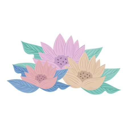 flowers color pastel with leaves , nature concept vector illustration design Vectores