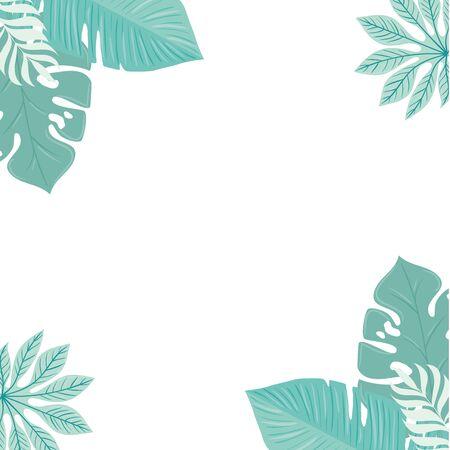 frame of tropical leaves pastel color on white background vector illustration design