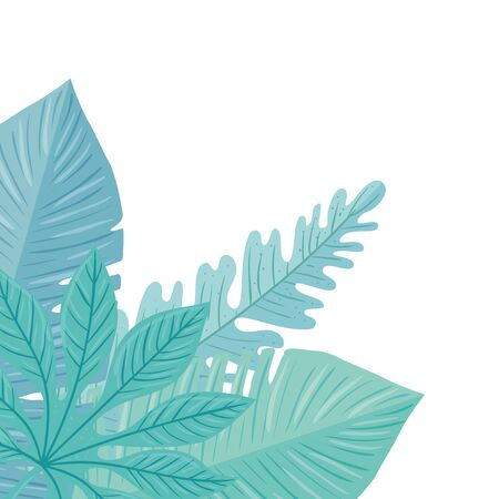 tropical branches with leaves pastel color on white background vector illustration design