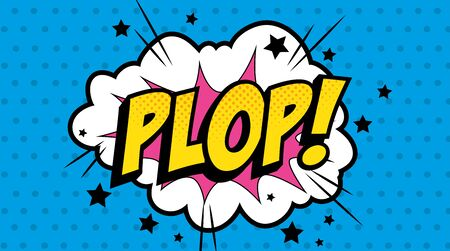 cloud with plop lettering pop art style icon vector illustration design