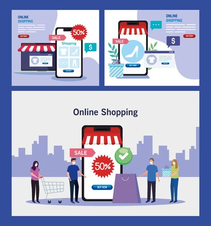 women and men with smartphones and laptop design of Shopping online ecommerce market retail and buy theme Vector illustration 일러스트