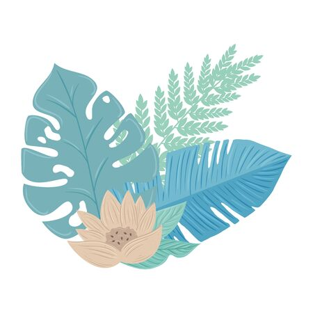 flowers color pastel with branch and leaves , nature concept vector illustration design