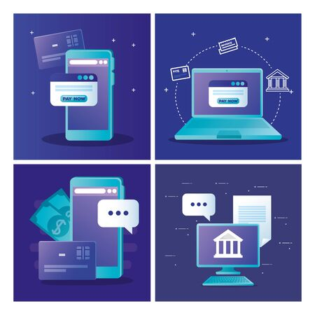 smartphone laptop computer and website with pay now button of money financial banking commerce and market theme Vector illustration