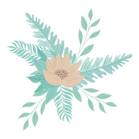flowers color pastel with branches and leaves , nature concept vector illustration design