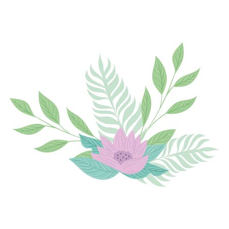 flowers lilac color pastel with branches and leaves , nature concept vector illustration design