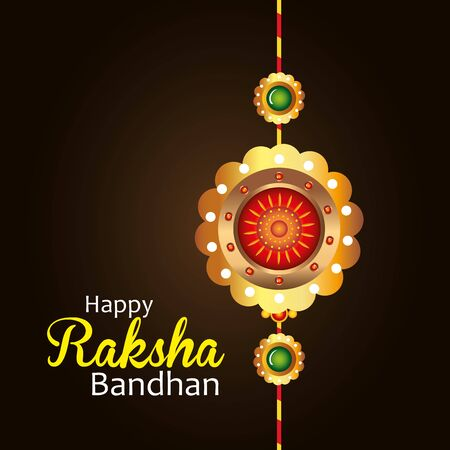 greeting card with decorative rakhi for raksha bandhan, indian festival for brother and sister bonding celebration, the binding relationship vector illustration design Archivio Fotografico - 150127095