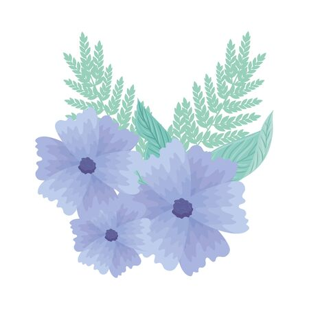 flower blue color pastel with leaves , nature concept vector illustration design