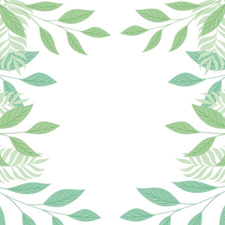 frame of tropical branches and leaves pastel color on white background vector illustration design Vettoriali
