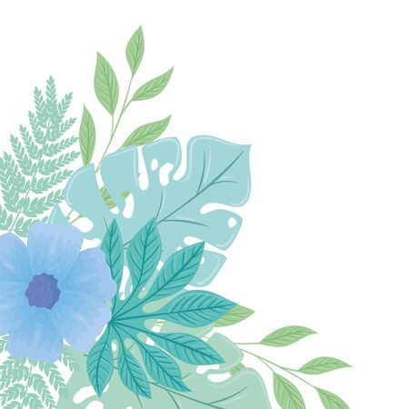 flowers blue color pastel with branches and leaves , nature concept vector illustration design