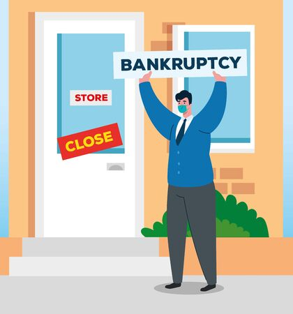 coronavirus crash, covid 19 economy collapse, sad businessman in company facade closed , bankruptcy concept vector illustration design