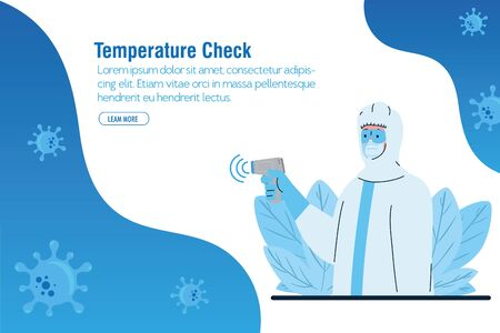 disinfection, person in viral protective suit, with digital non contact infrared thermometer vector illustration design Illustration