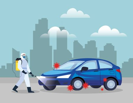 car disinfection service, prevention coronavirus covid 19, clean surfaces in car with a disinfectant spray, person with biohazard suit vector illustration design