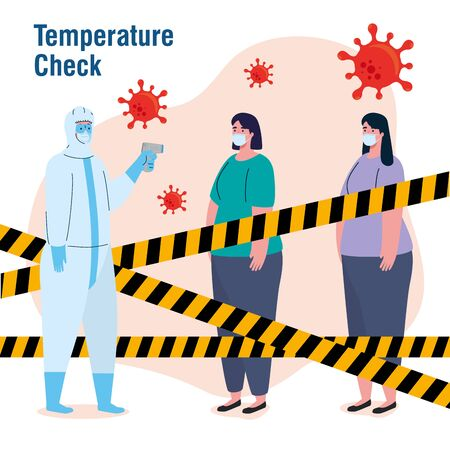 disinfection, person in viral protective suit, with digital non contact infrared thermometer, women in check temperature vector illustration design