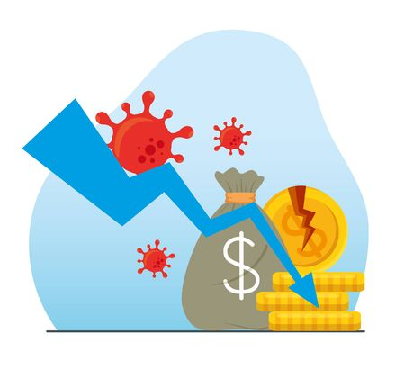 coronavirus crash, covid 19 economy collapse, set business icons, bankruptcy concept vector illustration design
