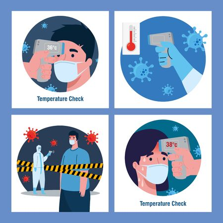 person with disinfection suit, with digital non contact infrared thermometer, set scenes vector illustration design