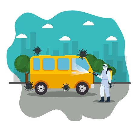 van car disinfection service, prevention coronavirus covid 19, clean surfaces in car with a disinfectant spray, person with biohazard suit vector illustration design