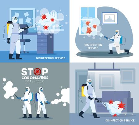 Men with protective suit spraying office rooms with covid 19 virus design, Disinfects clean and antibacterial theme Vector illustration