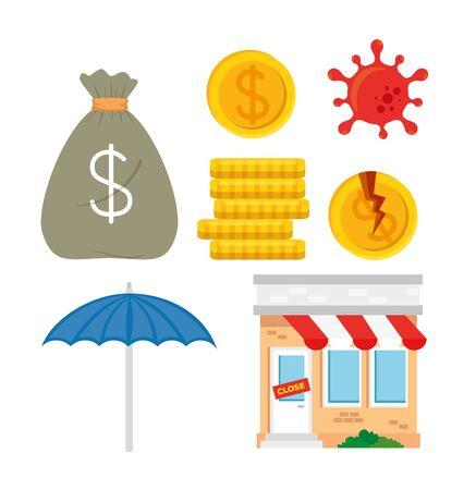 store shop in bankrupt with set icons, bankrupt concept vector illustration design