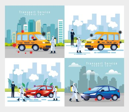 cars disinfection service, prevention coronavirus covid 19, clean surfaces in car with a disinfectant spray, persons with biohazard suit vector illustration design Ilustração