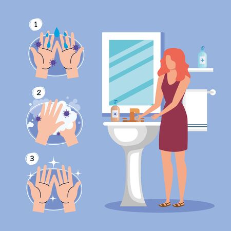Hands washing technique and woman avatar design, Disinfects clean antibacterial and hygiene theme illustration