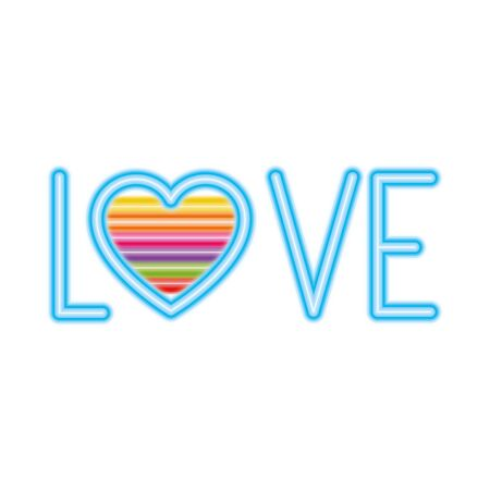 love text with heart design, Pride day love sexual orientation and identity theme illustration Vectores