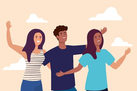 happy characters, women and men, group young people, friendship excitement, cheerful laughing from happiness illustration design