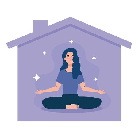 stay home, be safe, woman meditating and facade house,  stay at home quarantine, be careful illustration design